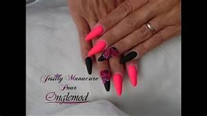 Ongles En Gel Rose : ongle en gel amande gothique noir rose fluo et rose 4d avec onglemod youtube ~ Melissatoandfro.com Idées de Décoration