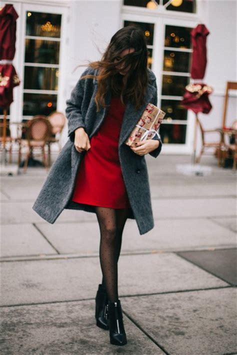 Dress winter date night outfit date outfit mini dress red dress coat grey coat tumblr ...
