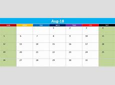 August 2018 Landscape & Portrait Calendar Template Free