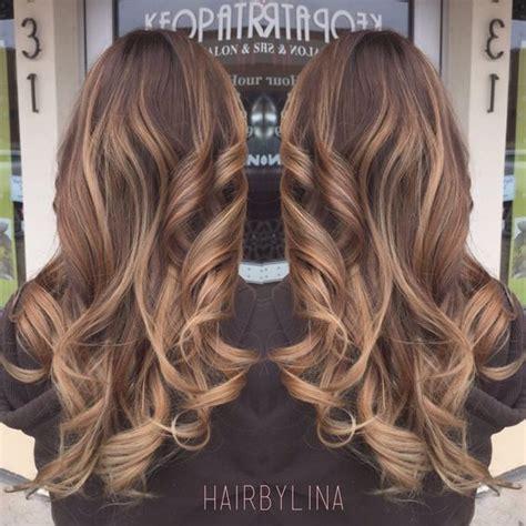 Light brown balayage on milk chocolate base   Hair By Lina