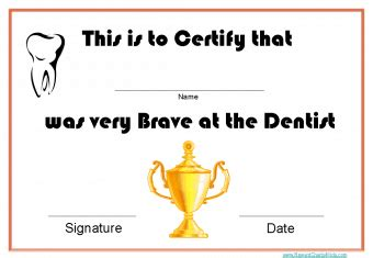 printable certificates  dentists