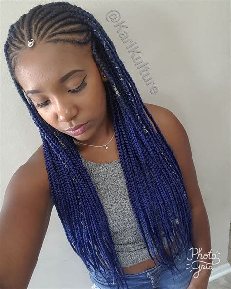 Fulani Braids Blue Hair Protective Style On Natural Hair