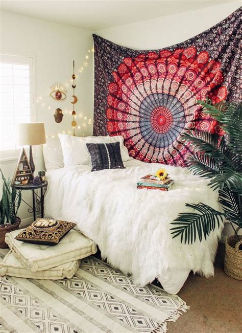 cozy bohemian bedrooms  tapestry wall decor homemydesign