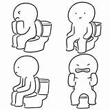 Toilet Sitting Man Drawings Vector Clip Illustrations Flush Royalty sketch template