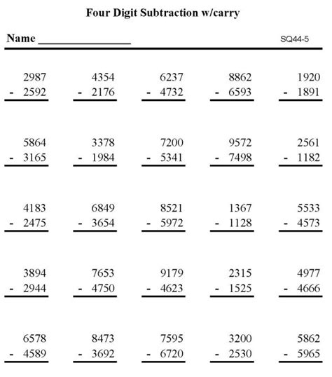 bluebonkers subtraction math practice sheet digit subtraction p5 - Math Sheets