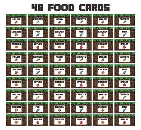 minecraft food printables card printableecom