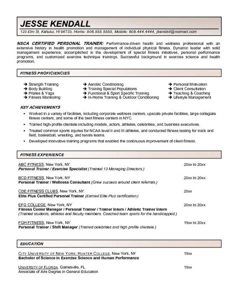 Personal Resume Template Fitness And Personal Trainer Resume Exle Recentresumes Com