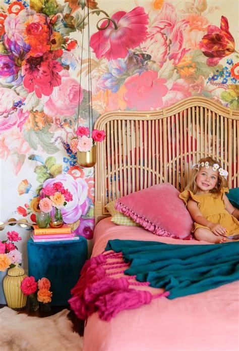 bold teal  pink floral wallpaper  girls room