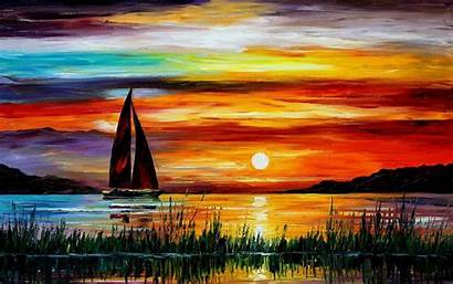 Painting Wallpapers Sunset Boat