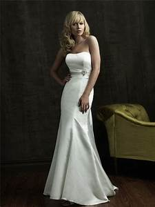 simple mermaid strapless sweep train satin wedding dress With simple satin wedding dresses