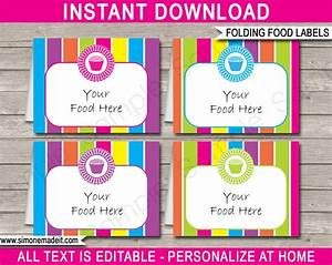 cupcake party food labels place cards cupcake theme party With food labels for party template