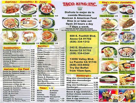 taco menu king taco menu azusa dineries