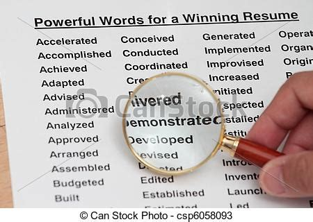 stock photos of powerful word for winning a resume