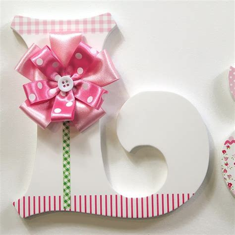 pink ribbon flower wall letters  wooden letters company