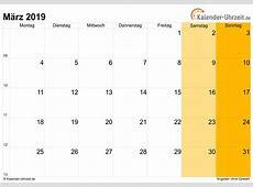 März 2019 Kalender mit Feiertagen