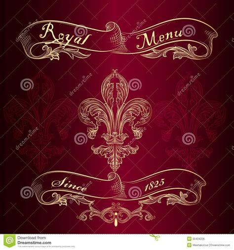 royal menu design  fleur de lis stock vector