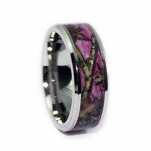 Pink camo ring bevel titanium camo rings hunting camo for Titanium camo wedding rings