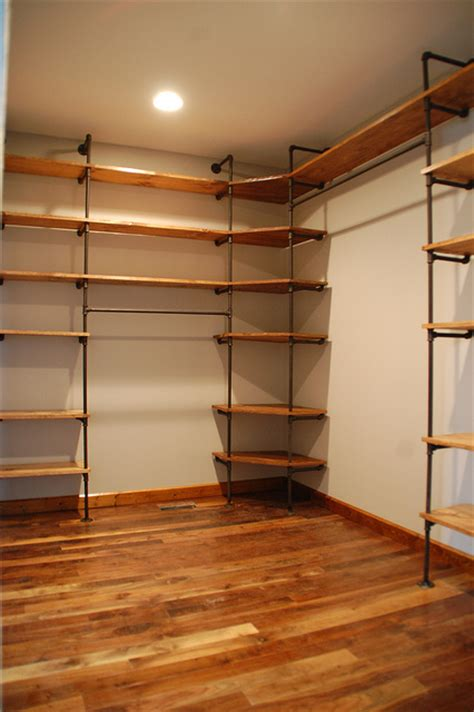 diy industrial style pipe closet shelving cost around