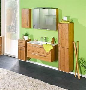 Bad Set Holz : 5 tlg badm bel set in bambus massiv 1 oberschrank 1 unterschrank 1 spiegelschrank 1 ~ Indierocktalk.com Haus und Dekorationen