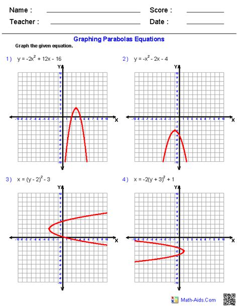 Algebra 2 Worksheets  Conic Sections Worksheets