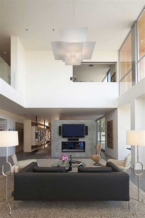Minimalist Living Room With High Ceiling Design Ideas