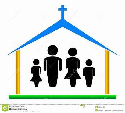 Church Illustration Clip Simple Families Vector Clipart