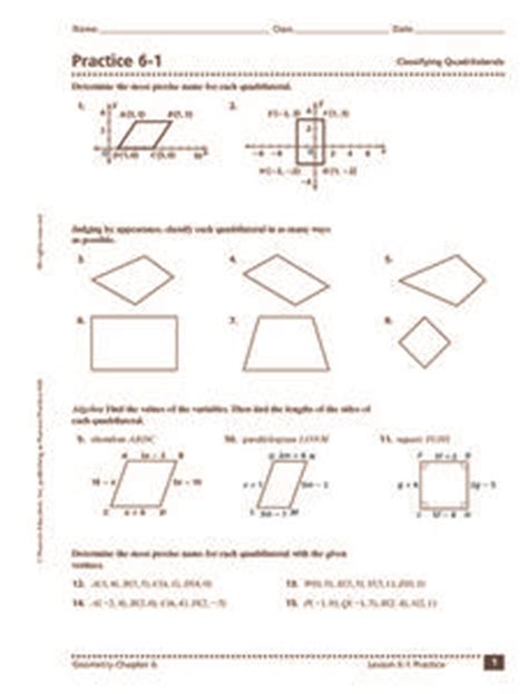 practice 6 1 classifying quadrilaterals 9th 11th grade worksheet lesson planet