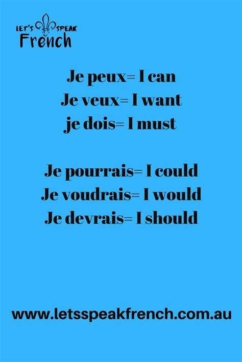 verbs in French I can - I could and I want- I would - I ...