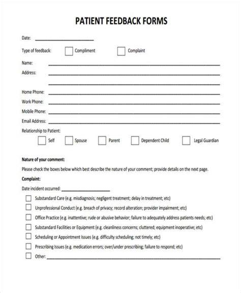 18018 patient feedback form 7 patient feedback form sles free sle exle