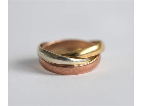 9ct tri colour gold russian wedding band ring