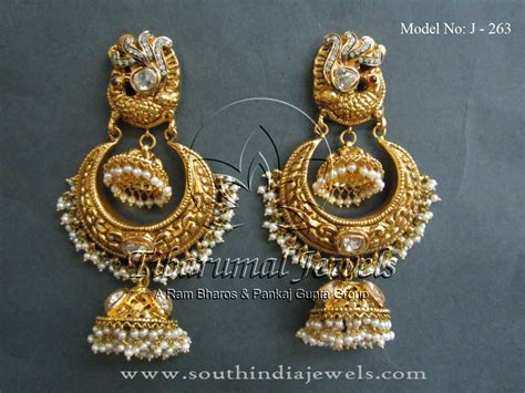 gold jhumka designs  tibarumal jewels indian style