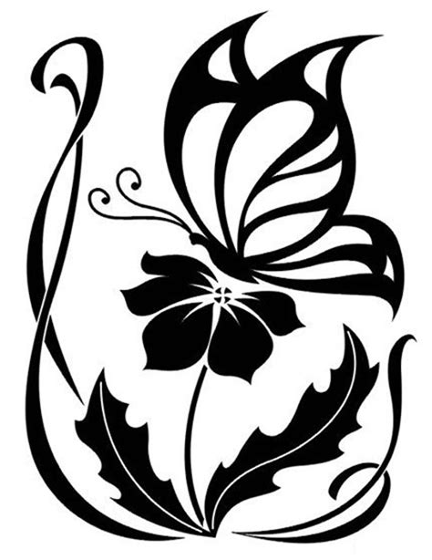 Flower and Butterfly Cross Stitch Chart | Craftsy | flowers | Tattoo stencils, Butterfly stencil