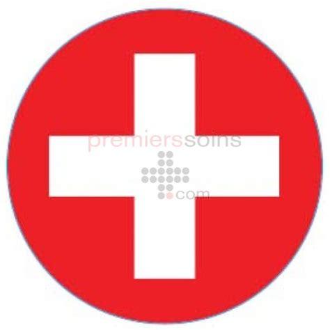 le bureau croix blanche autocollant premiers soins rond croix blanche avec fond