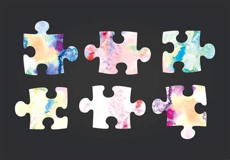 vector watercolor puzzle pieces   vectors