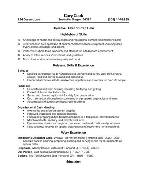 Restaurant Resume Template by Sle Restaurant Resume 10 Exles In Pdf Word