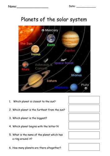 simple planets worksheet  tracey teaching
