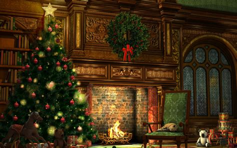 christmas fir tree   fireplace desktop wallpapers