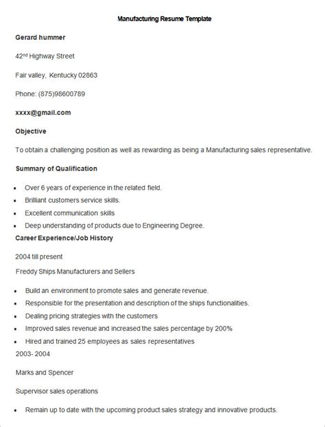 Free Resume For Manufacturing by Resume Exle Manufacturing Resume Ixiplay Free Resume Sles