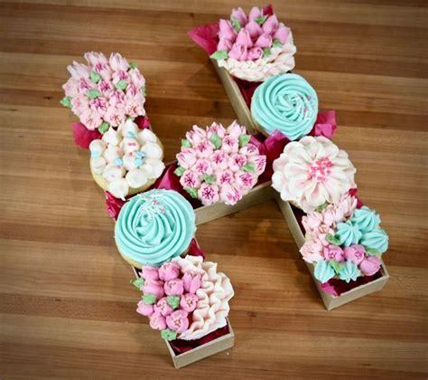 cupcake letter box cake lettering monogram cupcakes alphabet cake