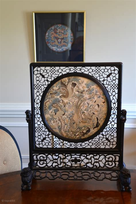 chinese table screen silk embroidery panel mounted