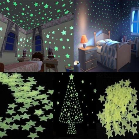 100pcs home wall light green glow in the stickers decal baby room ebay