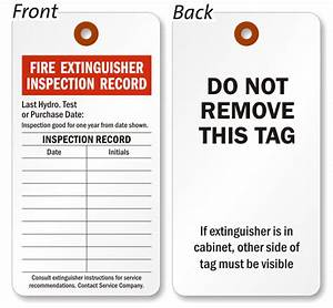 Fire extinguisher tags fire extinguisher inspection tags for Fire extinguisher inspection tag template