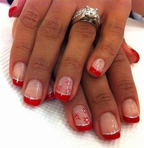 bright festive red tipped gel manicure with a thin line of ...