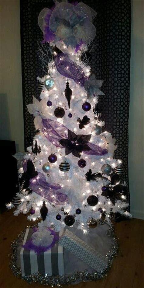 black white purple silver tree