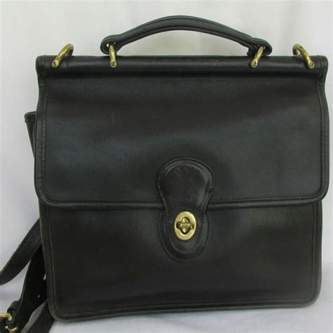 authentic vintage  coach black leather shoulder top handle willis handbag ebay