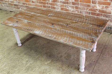 rustic coffee table in white wash lake and mountain home