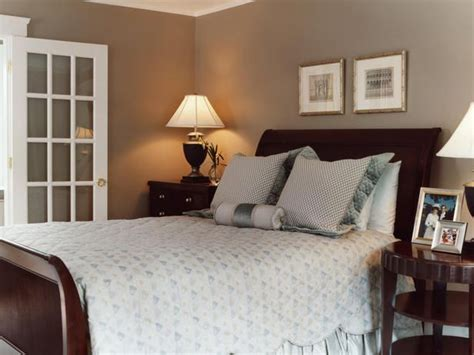taupe walls bedroom  design  deep mahogany