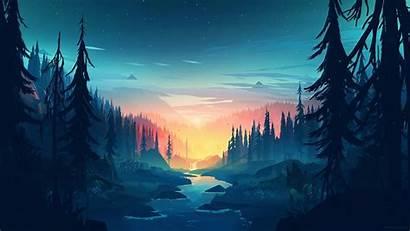 Flat Landscape Sunset Wallpapers Minimalism Trees River