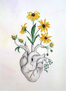 Drawn hearts flower - Pencil and in color drawn hearts flower
