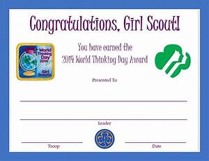 2014 world thinking day award certificate girl scouts With girl scout award certificate templates
